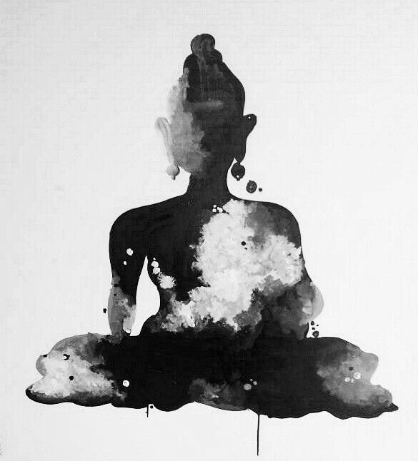 Black And White Buddha Energy Wall Painting Pop Art In 2019