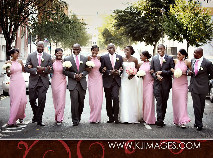 American Wedding Group.The Bride And Groom With The Bridesmaids And Escorts Love It In