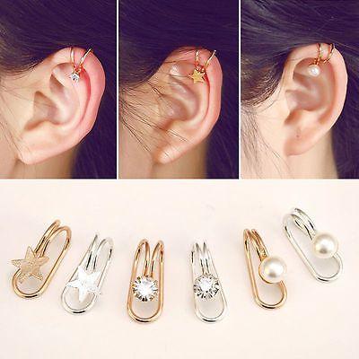 1 par de pendientes falsos con clip de oreja de cristal para mujer Pendiente de estrella en forma de corazón