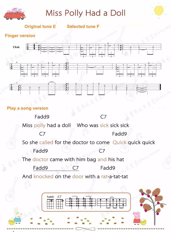 Peppa Pig Ukulele Sheet Miss Polly Had A Doll Ukulele Songs