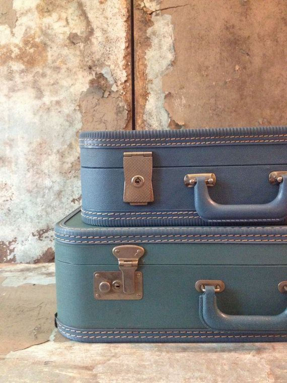 Set of Cornflower Blue Vintage Luggage/Stackable Luggage/Shabby ...