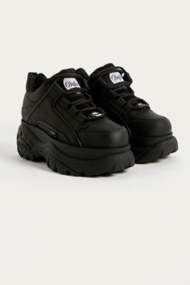 Buffalo Black Leather Chunky Platform Trainers - Black