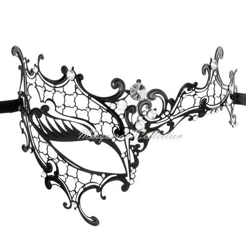 Masquerade Mask Collection - Black Venetian Phantom Mask with - masquerade mask template