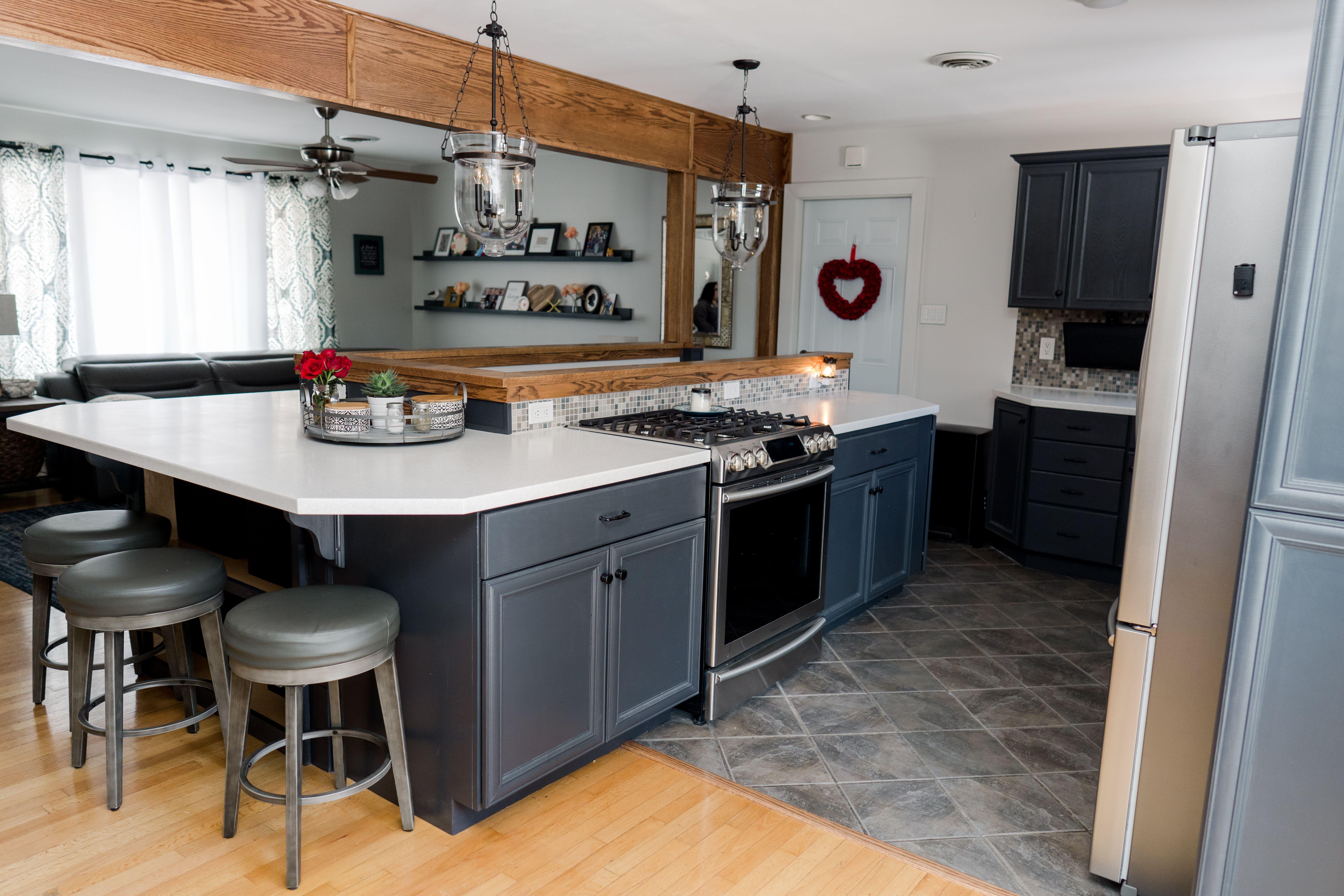 Best Dark Gray Cabinets Eider White Walls Lantern Style 400 x 300