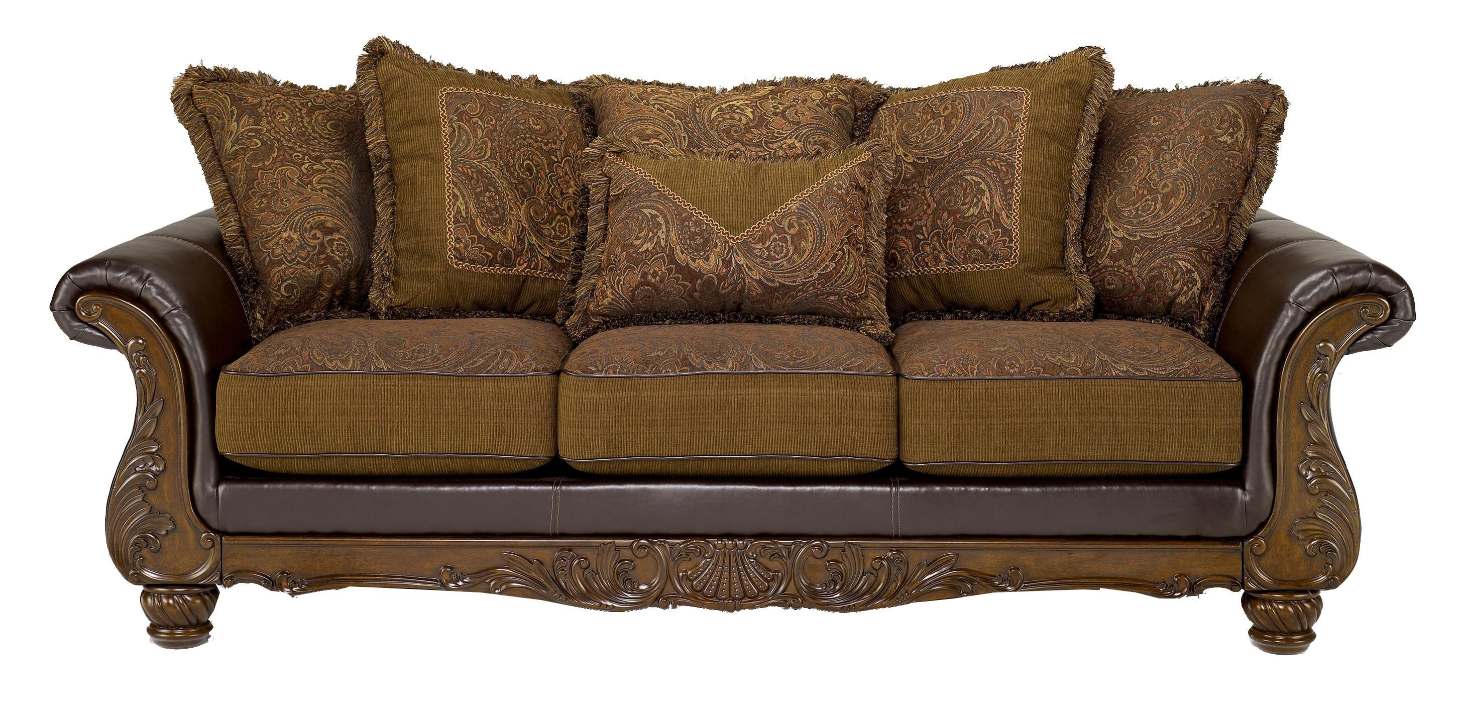 WILMINGTON - WALNUT TRADITIONAL EXPOSED-WOOD SOFA WITH ...
