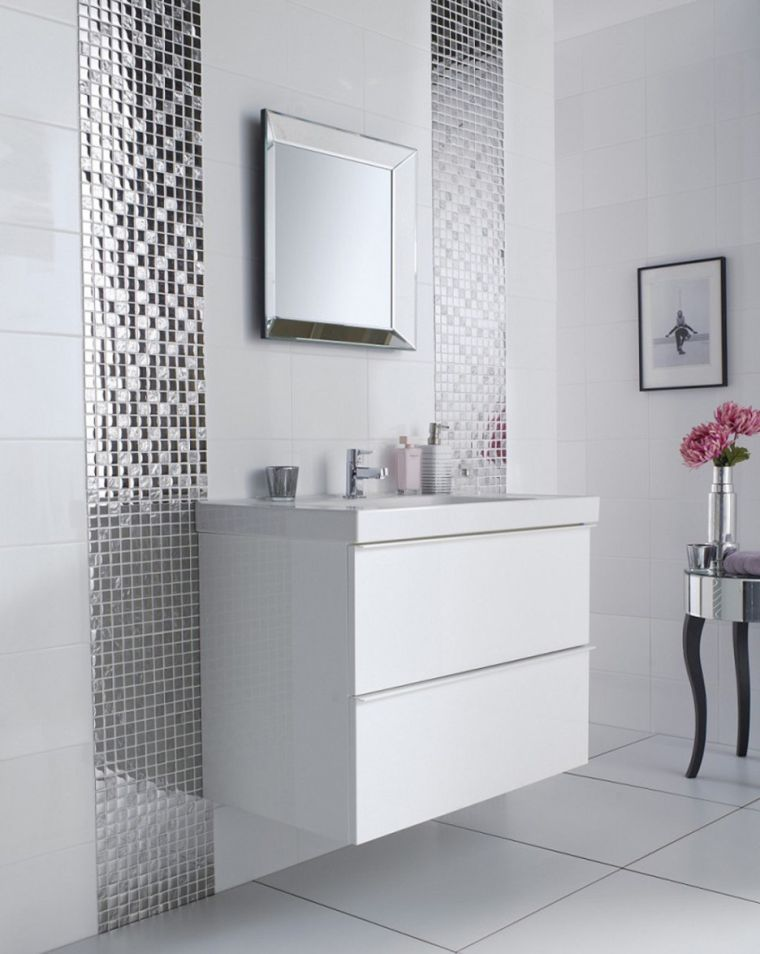 Modele Salle De Bain Grise Et Blanche Carrelage Original White Bathroom Tiles White Tile Bathroom Floor Grey Bathroom Tiles