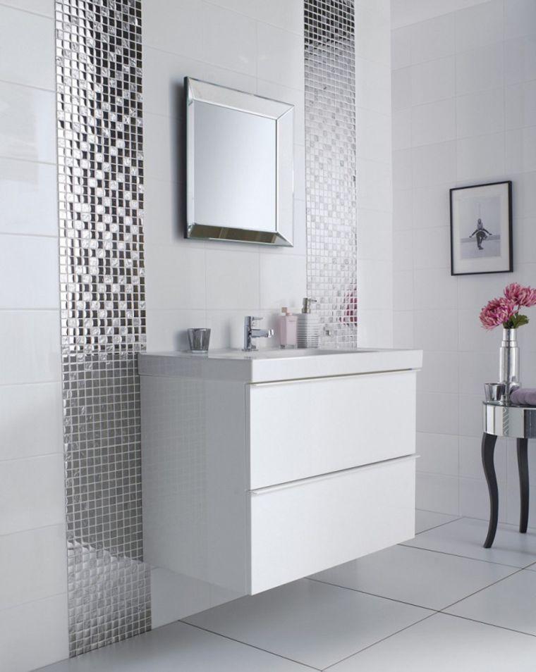 Modele Salle De Bain Grise Et Blanche Carrelage Original White Bathroom Tiles Grey Bathroom Tiles Bathroom Interior