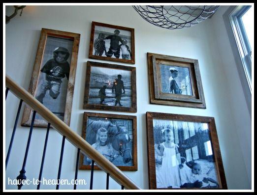 barnwood frames w/ b pics on stairs