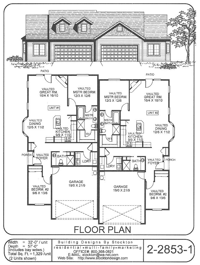 Building Designs By Stockton Plan 2 2853 1 Duplex Floor Plans Duplex House Plans Duplex Plans