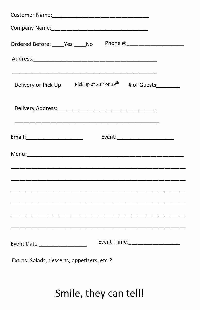 Catering forms Templates Best Of Free Catering order form