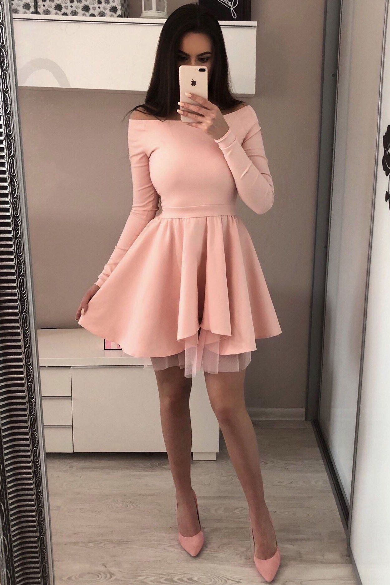 Long Sleeves Pink A Line Short Homecoming Dresses For Teens Party Dresses Z2059 Homecoming Dresses Short Homecoming Dresses Party Dress Teens [ 1875 x 1251 Pixel ]