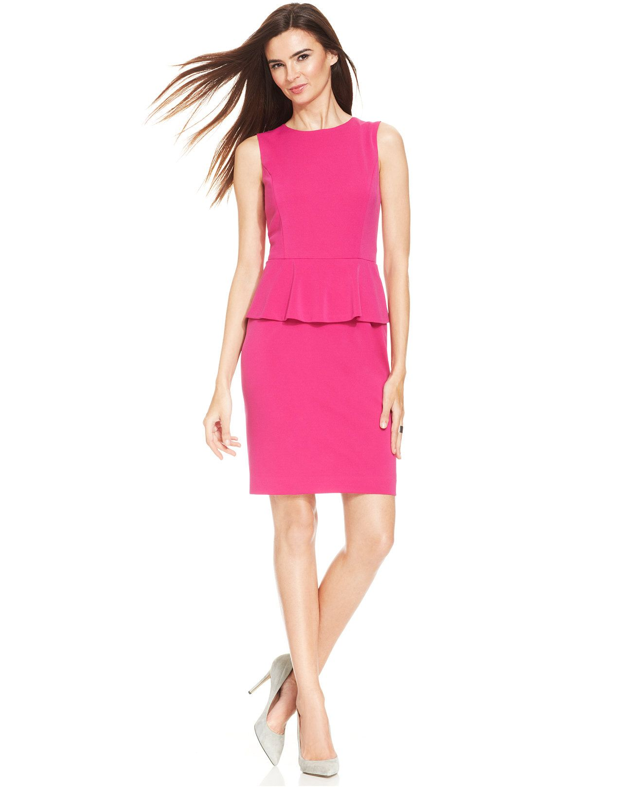 Nine West Sleeveless Peplum Sheath - Dresses - Women - Macy\'s | Mark ...