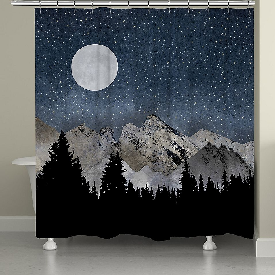 Laural Home Midnight Mountain Shower Curtain Navy Grey Rustic