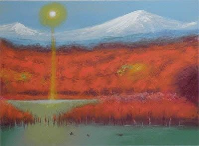'Mt. Haku in Autumn lithograph by Genso OKUDA - Japanese Painting Gallery