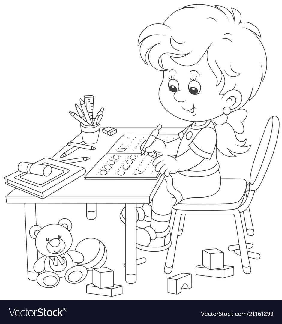 Little Schoolgirl Writing In An Exercise Book With Samples Of Letters Black And White Vector Illus Coloring Books Cute Coloring Pages Preschool Coloring Pages