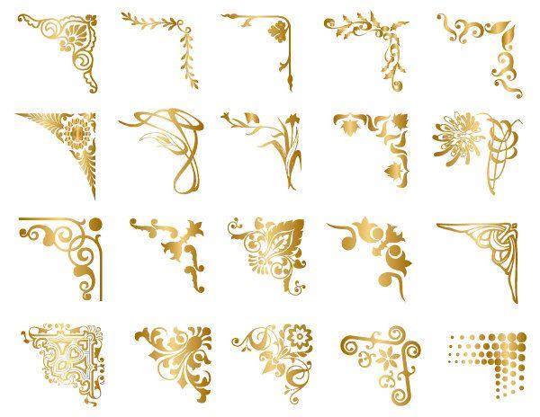 Instant Download Golden Digital Frame Corner Ornate Gold Flourish Swirl Border Corner Clipart Wedding Invitation Scrapbook Frame 0024 Digital Frame Clip Art Frames Borders Clip Art Borders