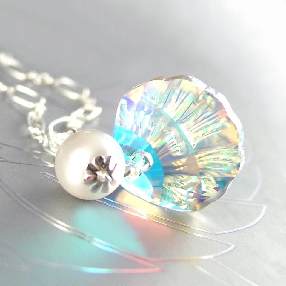 Clear Crystal Necklace, Sterling Silver, Sea Shell Necklace, Swarovski Necklace Aurora Crystal Seashell, Nautical Summer Ocean Beach Jewelry by DorotaJewelry on Etsy https://www.etsy.com/listing/120508321/clear-crystal-necklace-sterling-silver