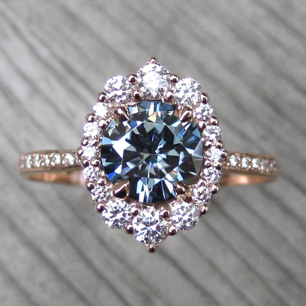 Dark grey moissanite engagement ring with diamond halo pavé band