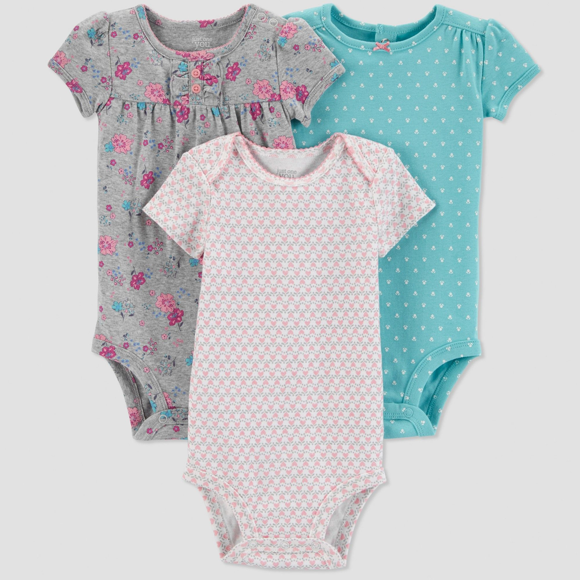 b3f19021b527 Baby Girls  3pk Fox Bodysuit - Just One You made by carter s ...