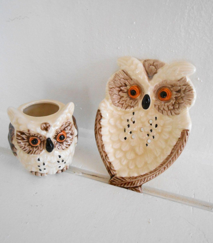 Vintage Owl Kitchen Decor /  Big ORANGE Eyed Owl /Tea bag holder and toothpick holder - 1979/1980 Enesco Japan - brown / white - # HS-TO-011 by MissMarigolds70s on Etsy