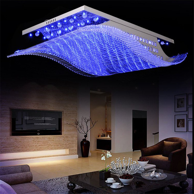 Crystal Clear Amazing Led Ceiling Light In Wave Shape With Changing Colors Ceiling Lights Chandelier In Living Room Iron Ceiling Lights