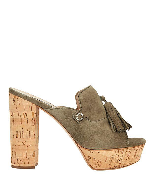 afef50bebbc Casadei Cork Heel Tassel Suede Sandal  Slide into these tassel detailed  suede upper sandals to go from desk to drinks. 5 stack heel and 1 1 4  platform made ...