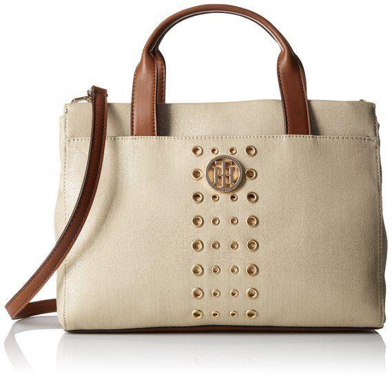 The Tommy Hilfiger Metallic Snap Closure Fashion Trendy Handbag Per Cotton Canvas
