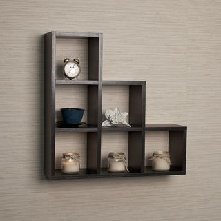 Danya B Stepped Six Cubby Decorative Black Wall Shelf | Accent ...