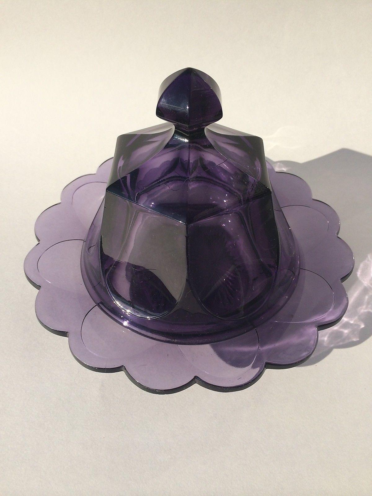 Púrpura Heisey? Mantequilla plato elegante decoración fantástica No hay daños! • $ 142.50 - PicClick