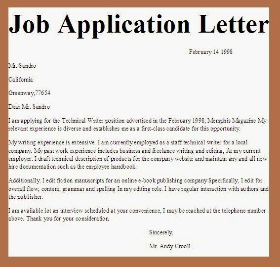 applications letter  Application  Application letter sample Simple job application letter