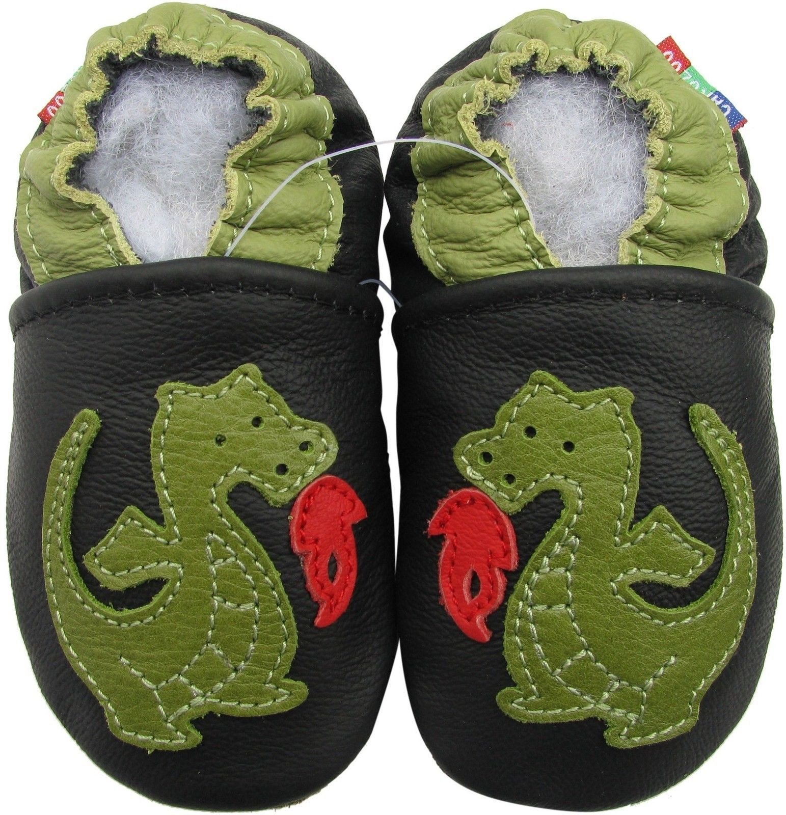 carozoo fire dragon black 6-12m soft sole leather baby shoes