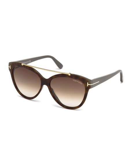 dd55ab66cc9b TOM FORD Livia Cat-Eye Brow-Bar Sunglasses