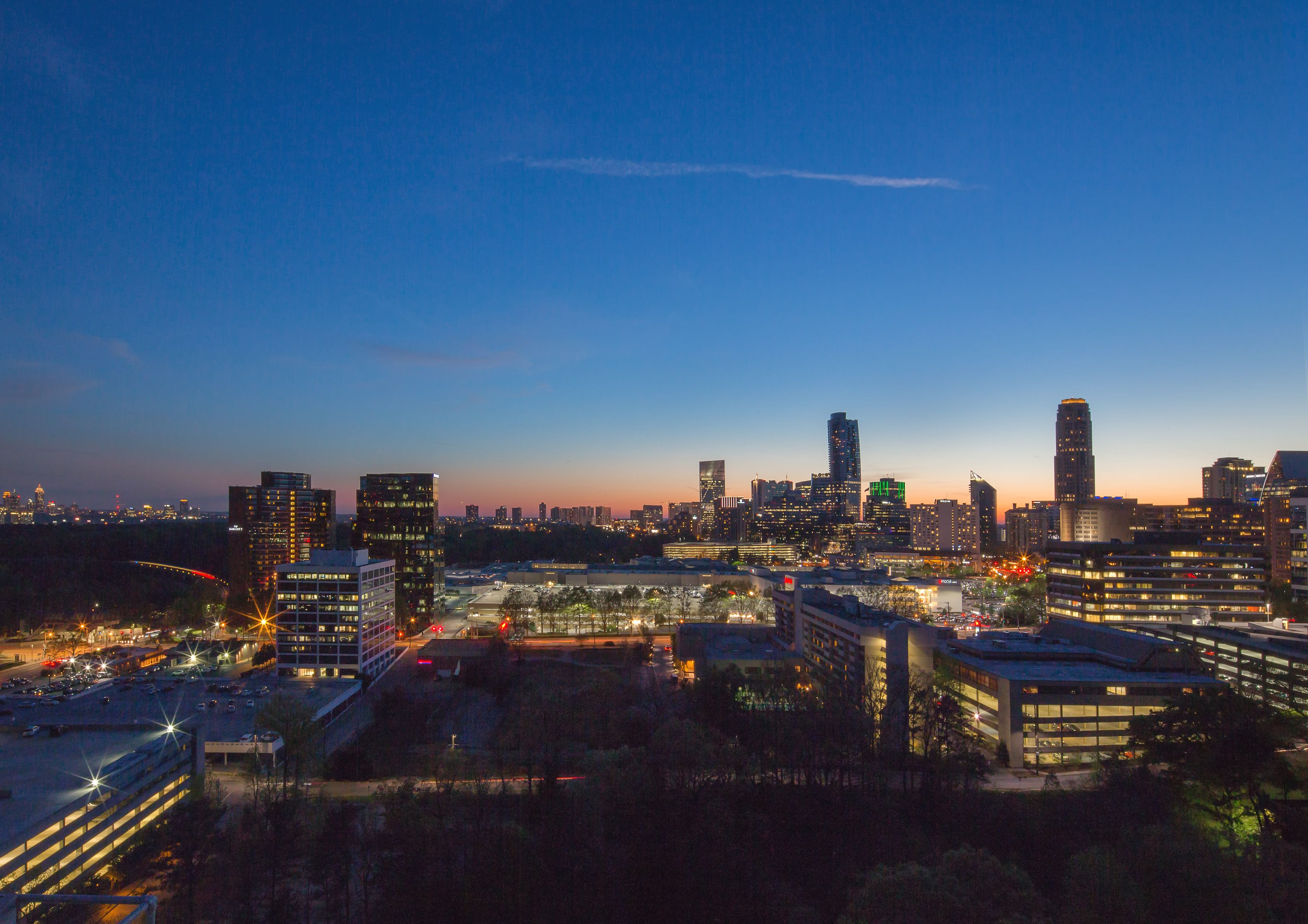 Enjoy views of both the downtown Atlanta and downtown Buckhead skylines.