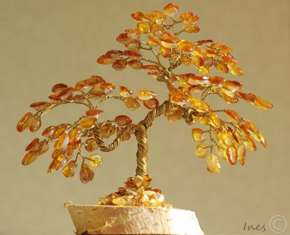 Wedding tree Home decor | Handmade Amber tree on marble plate Polished amber Baltic amber Business gift