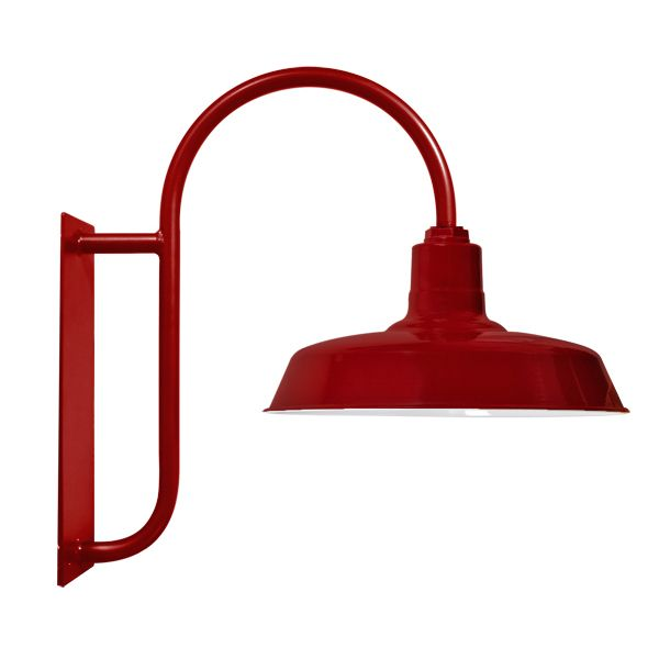 Pop of color on porches  Hitchen Post Gooseneck Light | RLM Shade, Exterior Commercial Light by BarnLightElectric.com