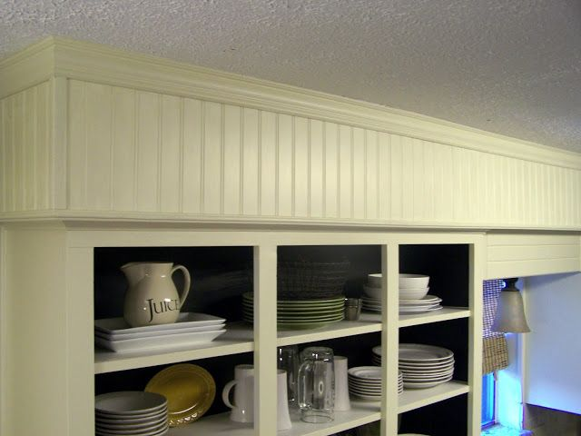 kitchen cabinet refacing beadboard crown moulding | little rough (I on