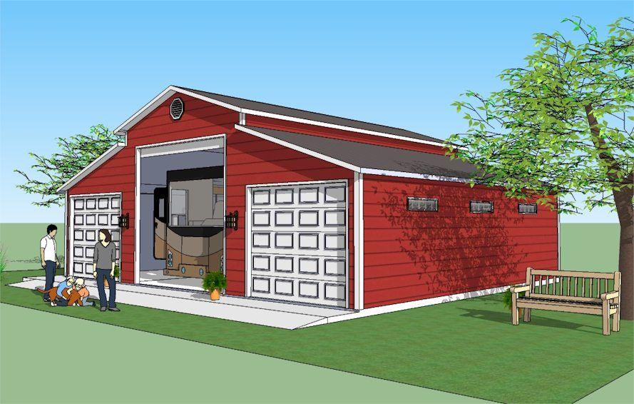 Side elevation of RV garage and car garages. Car garage