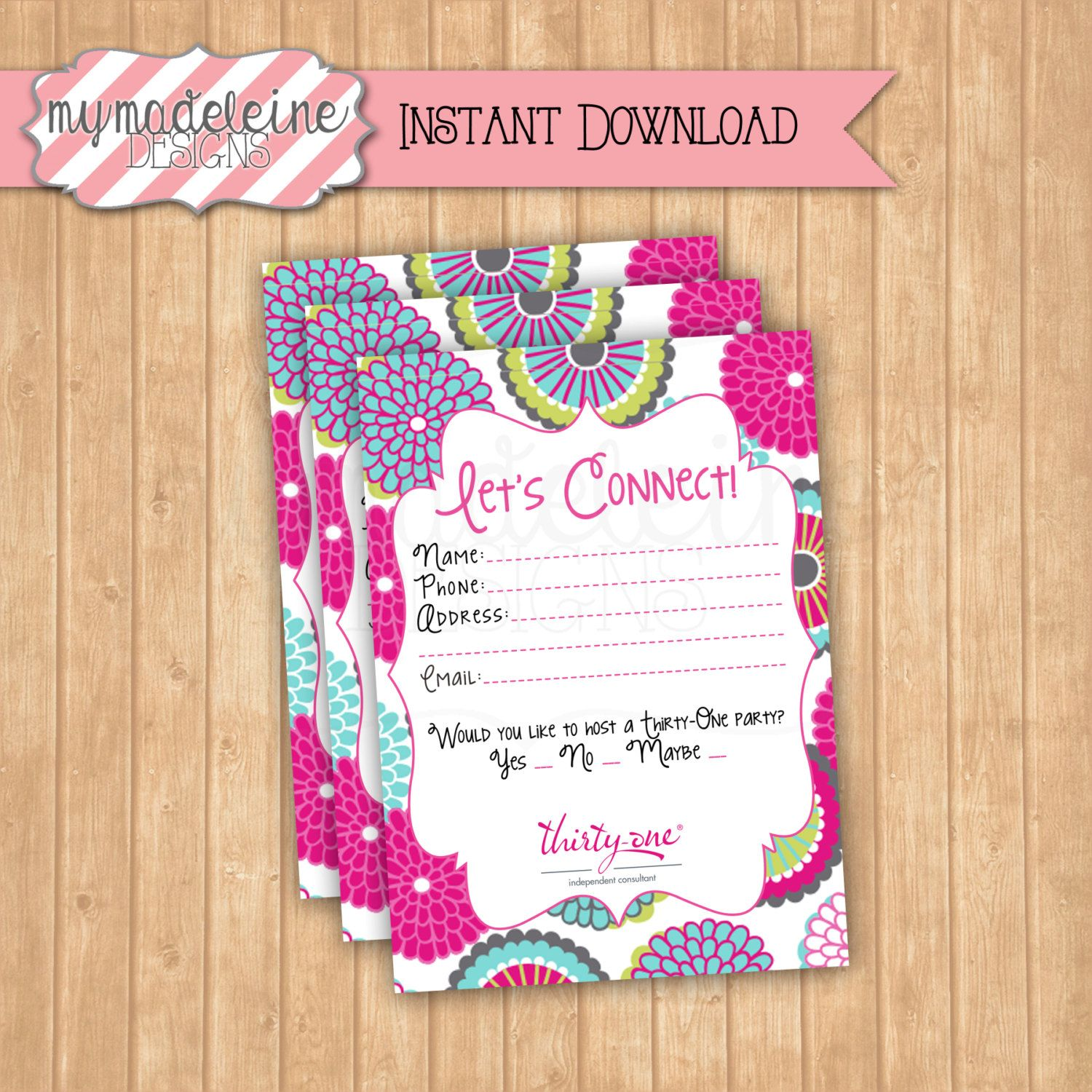 Sale! 50% off! // Thirty-One Customer Information Card // Instant ...