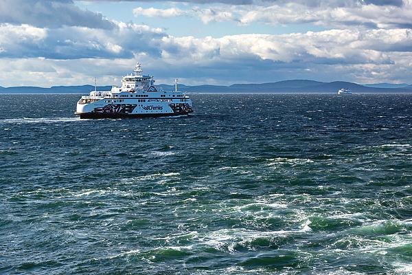 North America Photograph - Ferry In The Strait Of Georgia by Alex Lyubar #AlexLyubarFineArtPhotography#VancouverCanada#SeaScape#StrateOfGeorgia#BCFerry#Travel#BlueWater#Waves#BlueSky#ArtForHome#HomeDecor#ArtPrintForSale