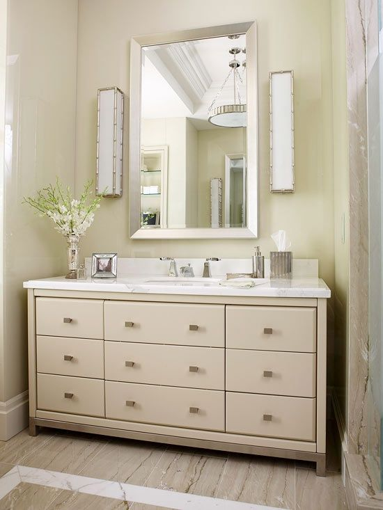 Freestanding Vanity Close Fit Into Niche Only An Inch Or Two Between Each Side And The Wal Bathroom Vanity Elegant Bathroom Decor Wall Hung Bathroom Vanities
