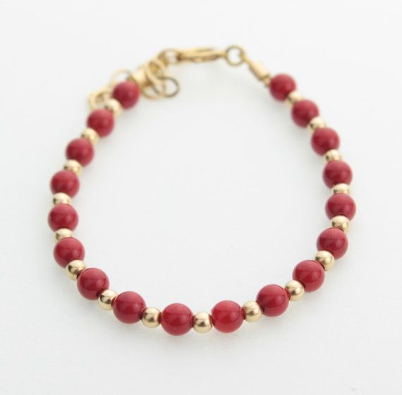 Red Coral Baby / Toddler Bracelet gold filled by ...