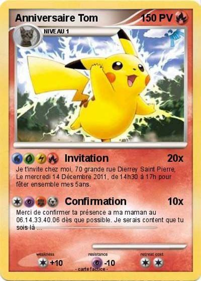 invitation anniversaire pokemon a