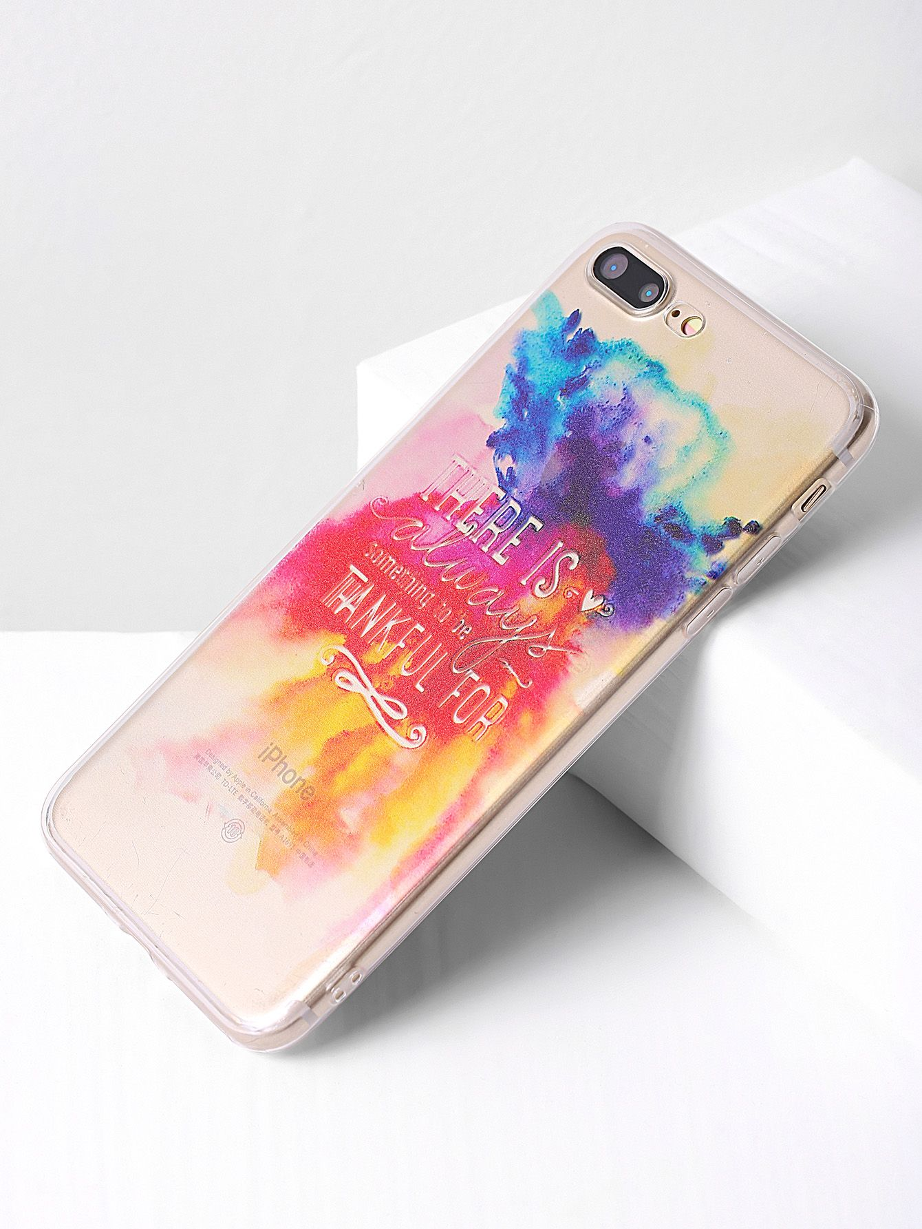 8c45bf972a Shop Watercolor Letter Print iPhone 7 Plus Case online. SheIn offers  Watercolor Letter Print iPhone