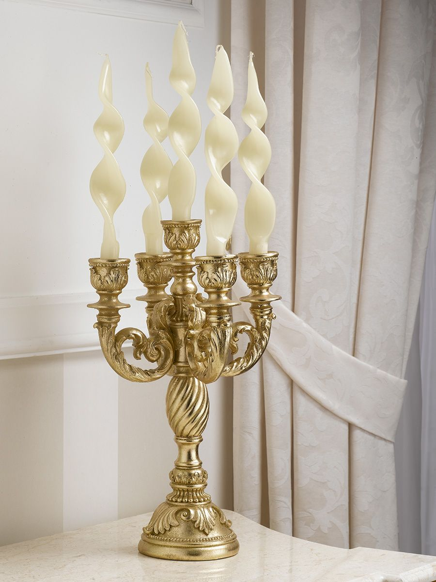 Candeliere candelabro portacandele stile Barocco foglia oro 5 fiamme