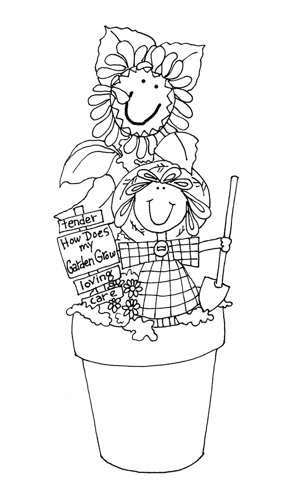 Free Dearie Dolls Digi Stamps Flower Pot Girl Digi