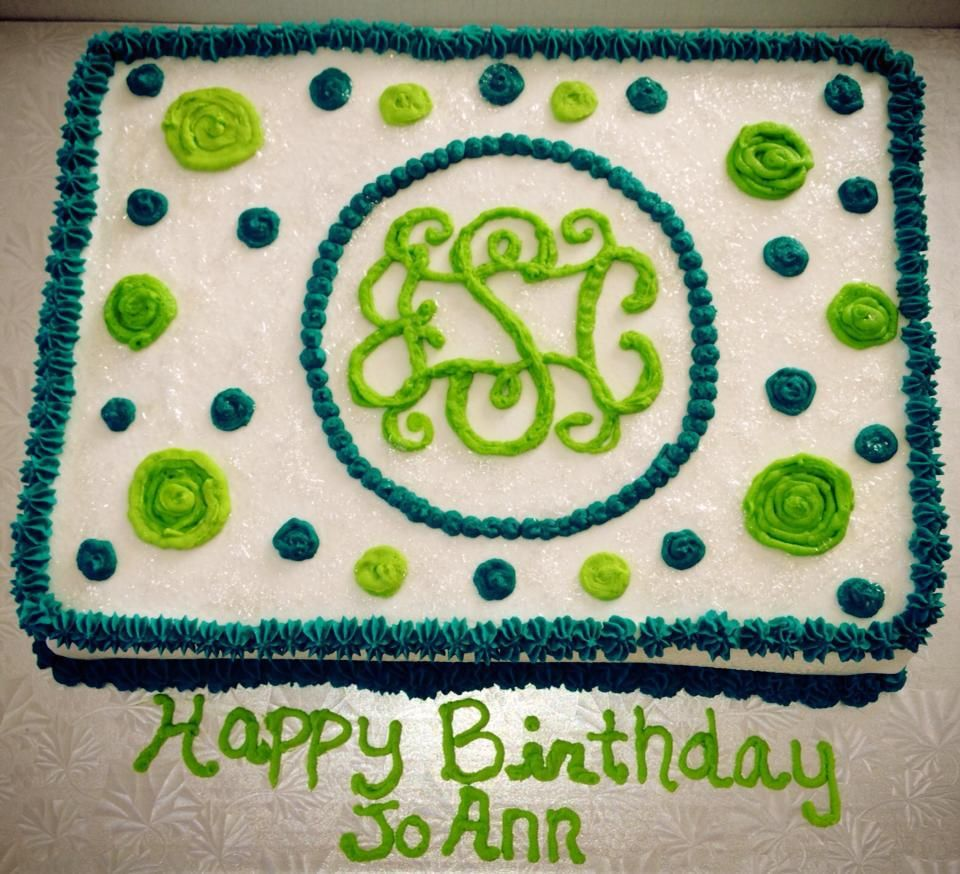 Sensational Monogram Birthday Cake Monogram Cakes Birthday Birthday Sheet Funny Birthday Cards Online Alyptdamsfinfo