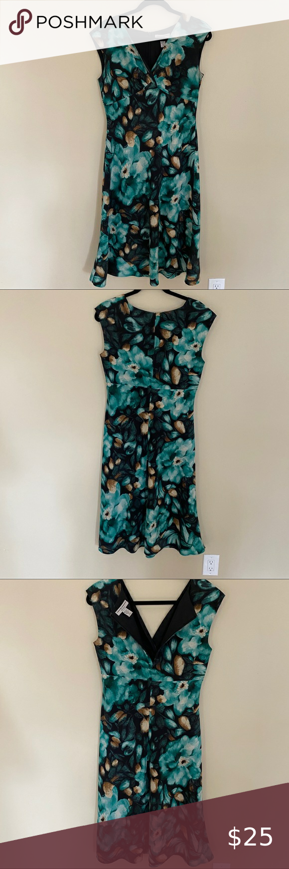 - Valerie Stevens silk floral v neck dress