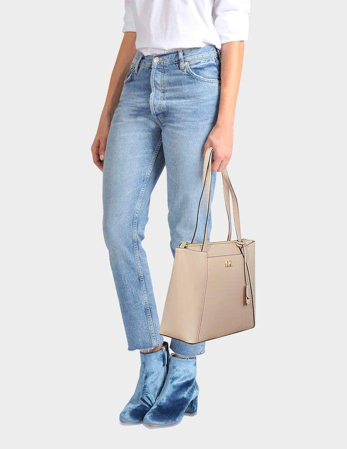 d2d1be9d78b4 MICHAEL Michael Kors Mott Medium East-West Top Zip Tote Bag in Soft Pink  Crossgrain Leather