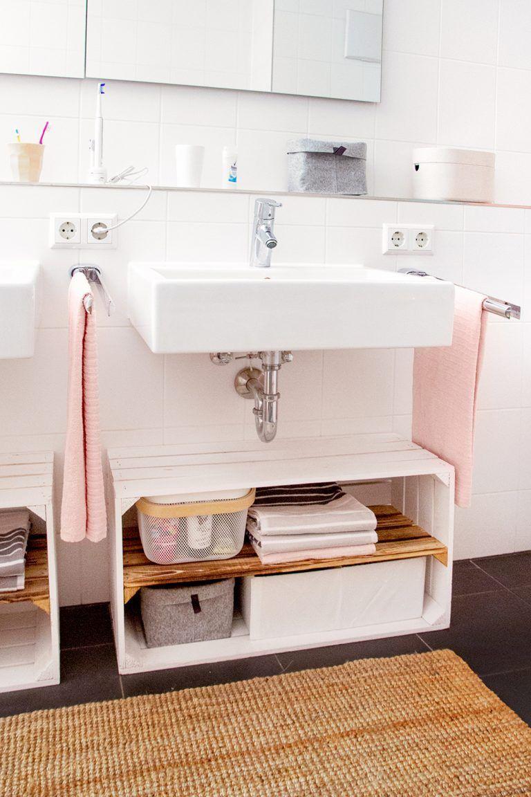 Holzkisten Diy Vier Wundervolle Ideen Fur Das Badezimmer In 2020 Unterschrank Bad Holzkisten Ablage Bad