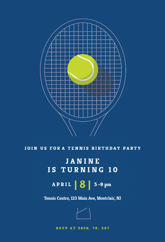 Tennis Champ Sports Games Invitation Template Free Greetings Island Tennis Tennis Posters Tennis Birthday